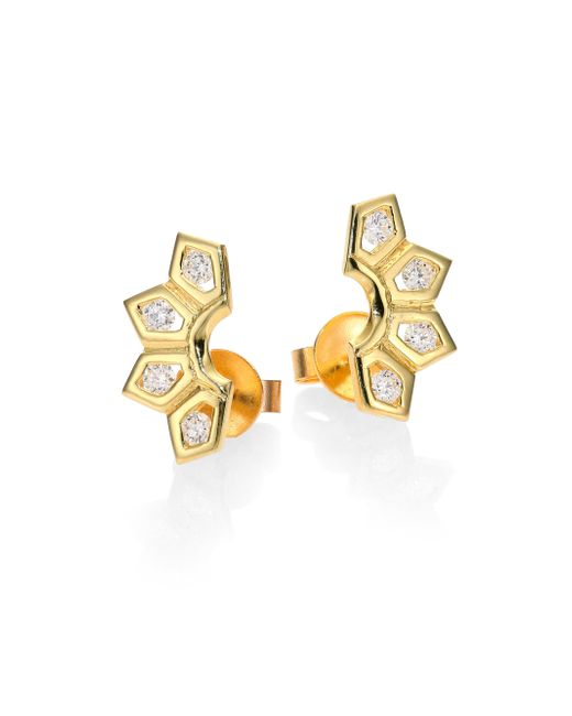 Ron Hami | Metallic Rain Diamond & 18k Yellow Gold Small Fan Earrings | Lyst