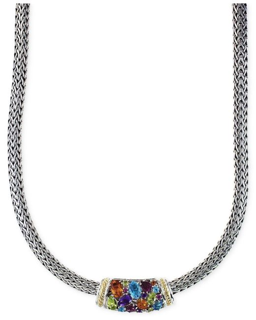 Effy Collection   Metallic Multistone Necklace In Sterling Silver And 18k Gold (4-2/5 Ct. T.w.)   Lyst