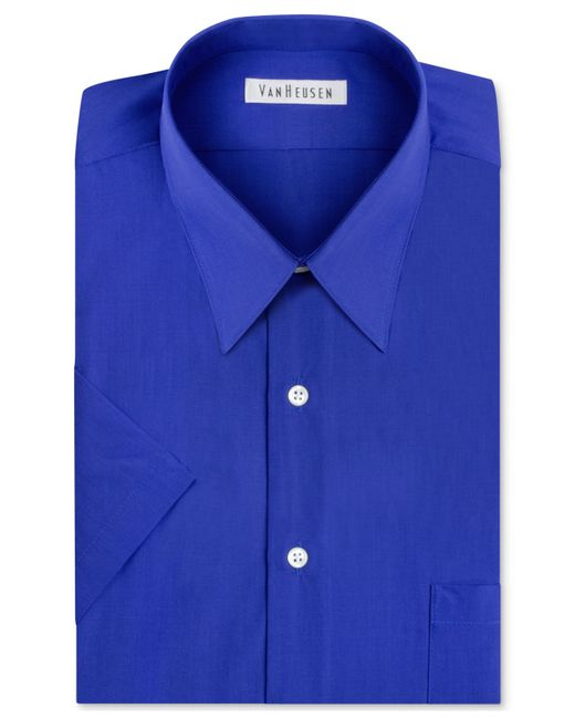 Van heusen poplin solid short sleeve dress shirt in blue for Van heusen men s short sleeve dress shirts