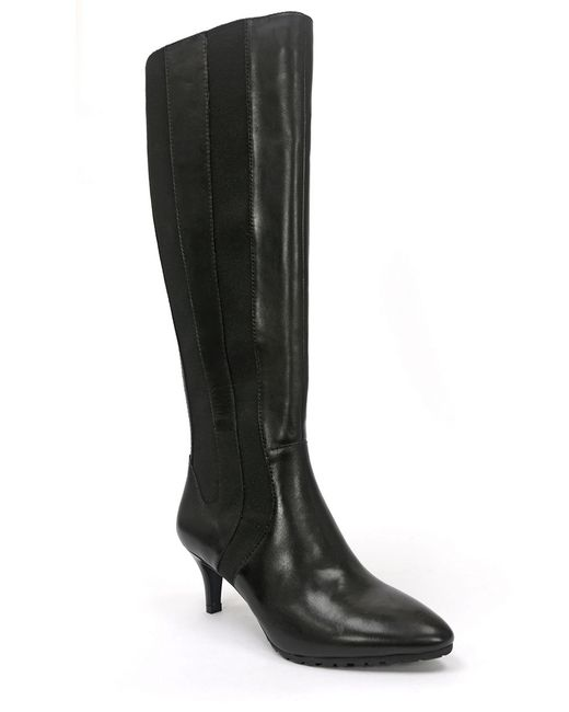 tahari fiore leather boots in black save 60 lyst
