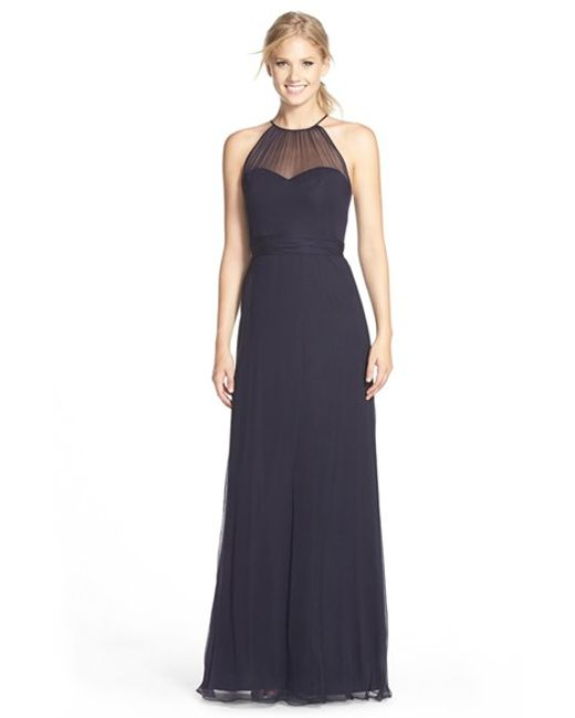 Amsale | Blue Illusion Yoke Silk Chiffon Halter Style Gown | Lyst