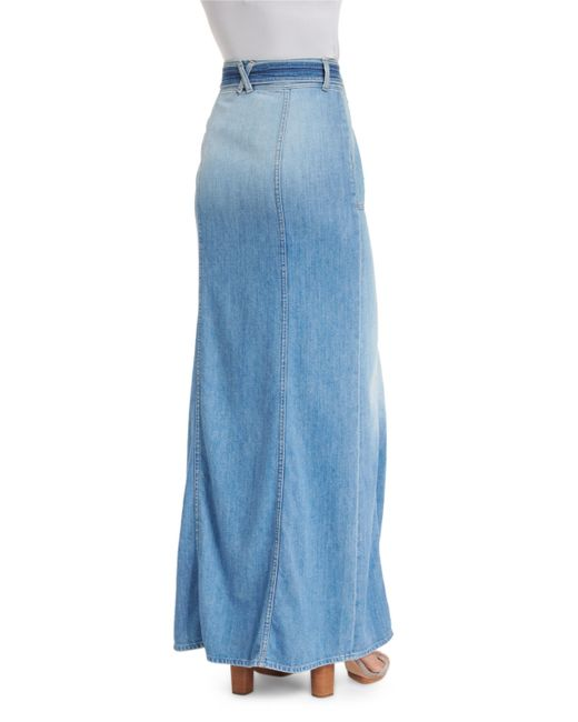 7 for all mankind belted denim maxi skirt in blue