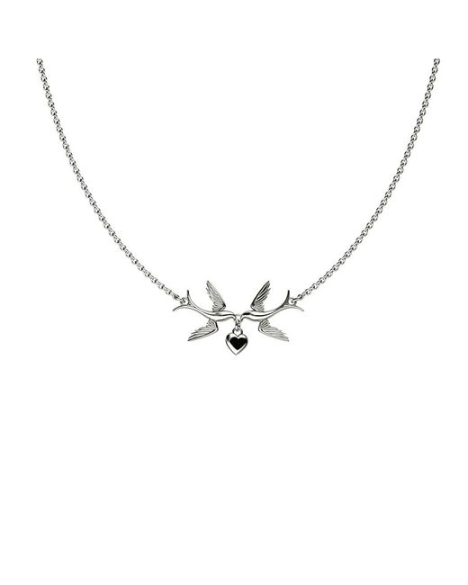 Azendi | Metallic Swallows And Hearts Necklace | Lyst