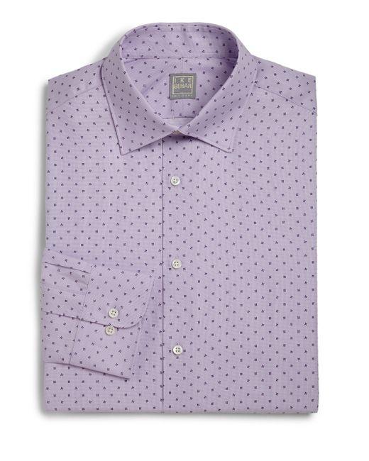 Ike behar regular fit lion textured dress shirt in purple for Royal purple mens dress shirts
