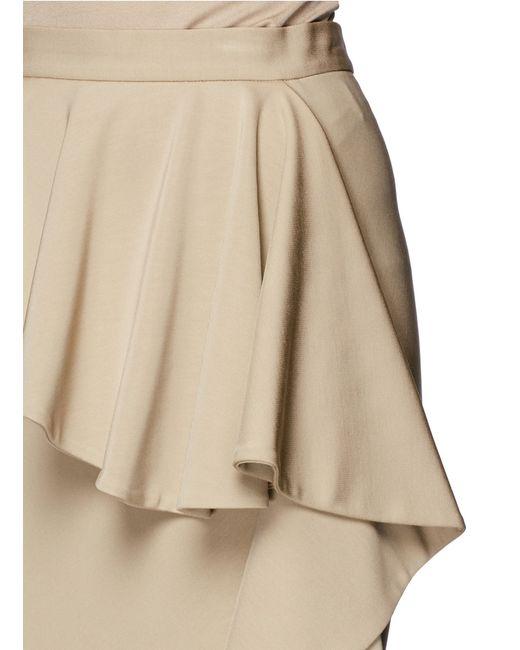 givenchy asymmetric ruffle slit midi skirt in beige