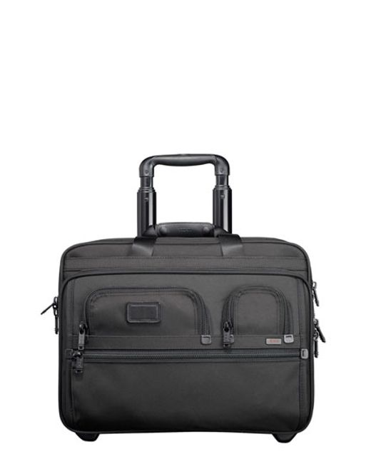 Tumi | Black 'alpha' Deluxe Wheeled Briefcase With Laptop Case for Men | Lyst