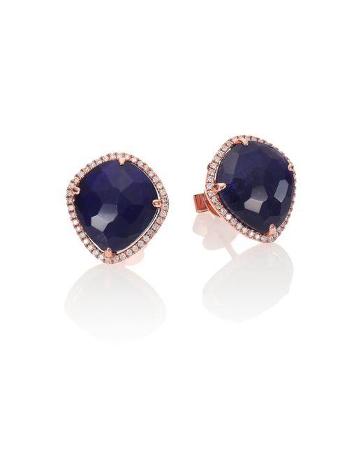 Meira T | Pink Sodalite, Diamond & 14k Rose Gold Stud Earrings | Lyst
