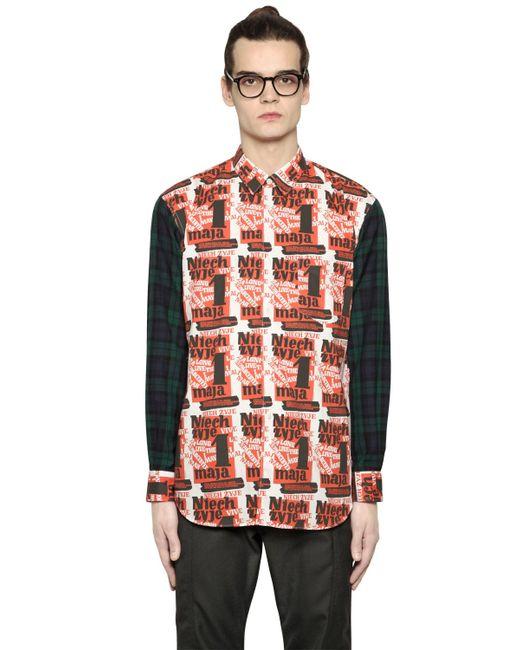 Comme des gar ons printed poplin plaid flannel shirt in for Black watch plaid flannel shirt