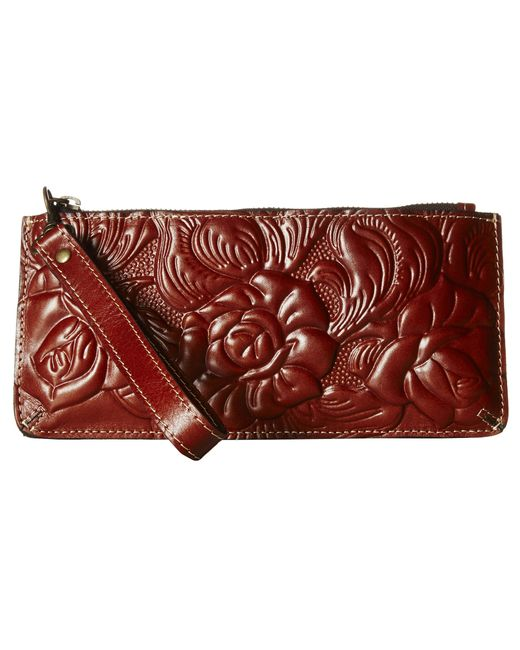 Patricia Nash Rose Tooled St Croce Wristlet In Red