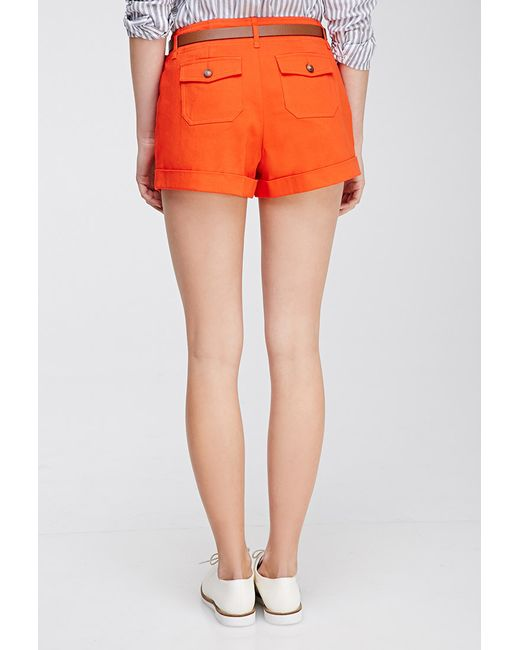 Forever 21 | Red Belted Chino Shorts | Lyst