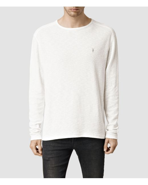 AllSaints | White Clash Long Sleeved Crew T-shirt for Men | Lyst