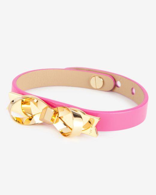 Ted Baker   Pink Leather Loop Bow Bracelet   Lyst