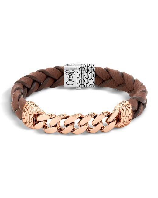 John Hardy | Metallic Classic Chain Men's Bracelet With Leather Strap for Men | Lyst