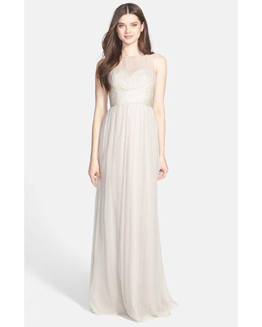 Amsale | Metallic Illusion Yoke Crinkled Silk Chiffon Gown | Lyst