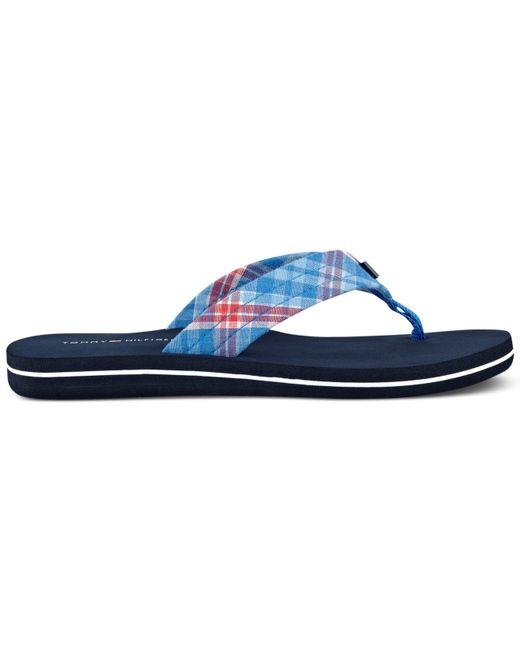 tommy hilfiger women 39 s conica plaid flip flop sandals in blue blue. Black Bedroom Furniture Sets. Home Design Ideas