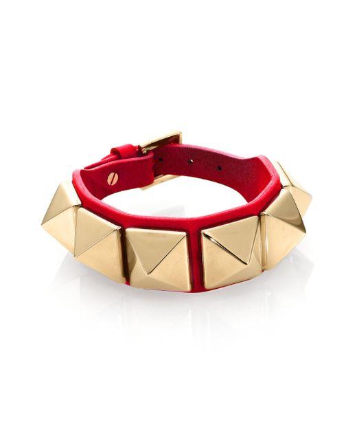 Valentino   Red Rockstud Large Leather Bracelet   Lyst