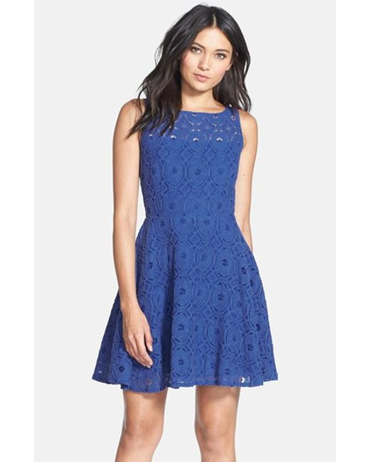 BB Dakota | Blue 'renley' Lace Fit & Flare Dress | Lyst