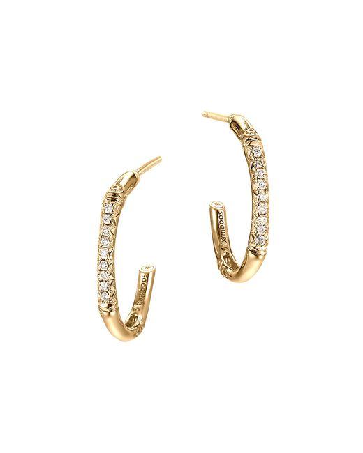John Hardy | Metallic Bamboo 18k Yellow Gold Diamond Pave Extra Small Hoop Earrings | Lyst