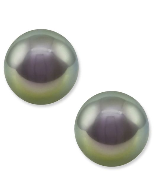 Majorica | White Sterling Silver Gray Organic Man Made Pearl Studs | Lyst