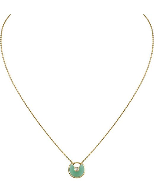 Cartier | Green Amulette De 18ct Yellow-gold, Chrysoprase And Diamond Necklace | Lyst