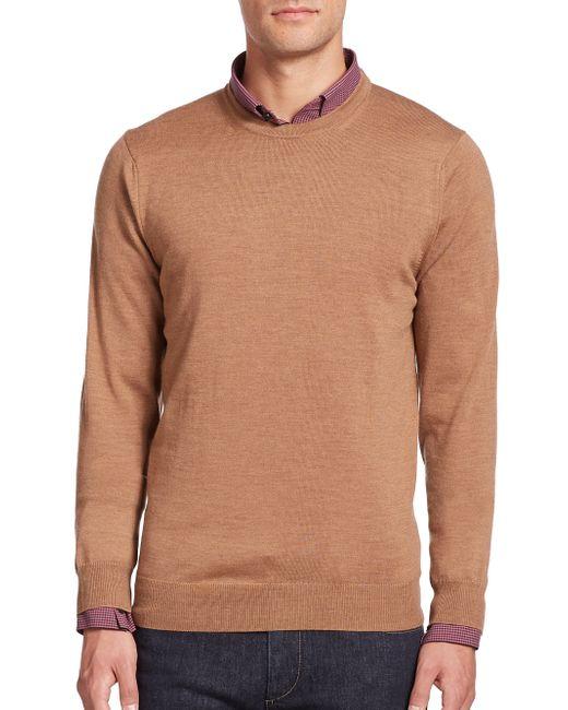 Saks Fifth Avenue | Brown Merino Wool Crewneck Sweater for Men | Lyst