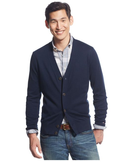 Tommy Hilfiger | Blue Signature Solid Cardigan for Men | Lyst