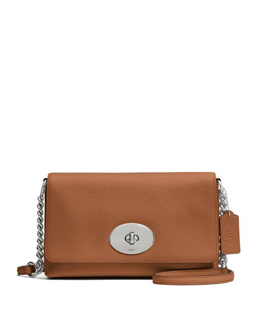 COACH | Brown Crosstown Pebbled Leather Crossbody Bag | Lyst
