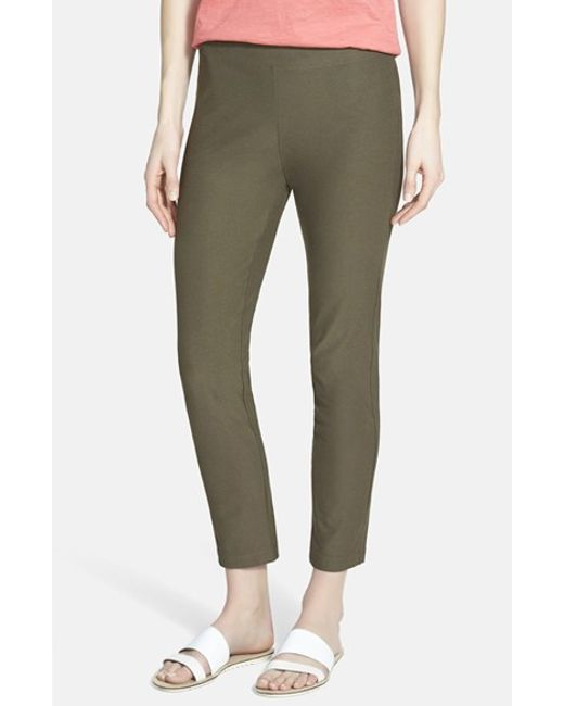 Eileen Fisher   Brown Stretch Crepe Ankle Pants   Lyst