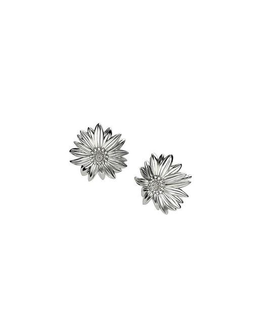 Azendi | Metallic Sterling Silver Daisy Stud Earrings | Lyst