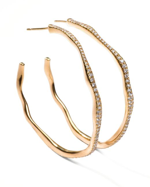 Ippolita | Metallic Drizzle #3 Wavy Diamond Gold Hoop Earrings | Lyst