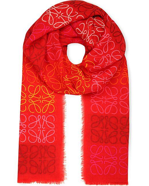 Loewe | Red Anagram Line Scarf | Lyst