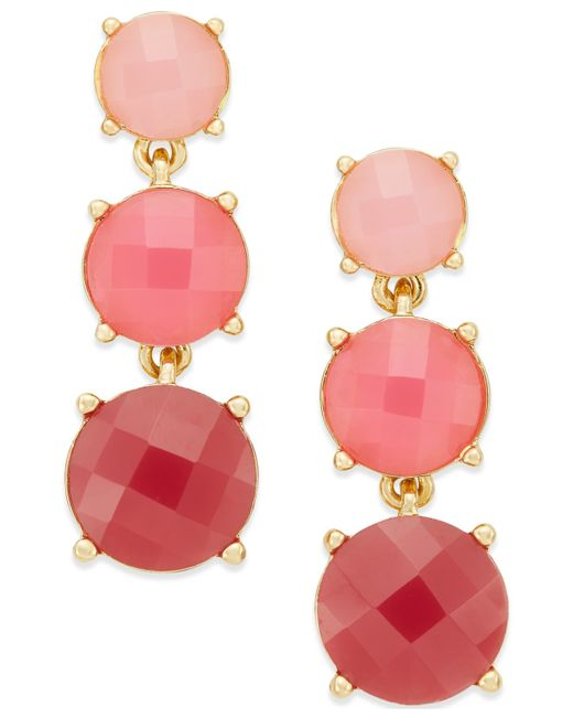 kate spade new york | Pink Gold-tone Rose Stone Linear Earrings | Lyst
