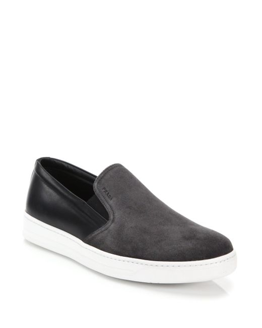 Prada | Gray Mixed-media Leather & Suede Slip-on Sneakers for Men | Lyst