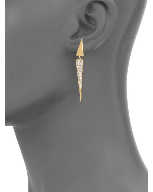 Elizabeth and James   Metallic Iten Pave White Topaz Drop Earrings   Lyst
