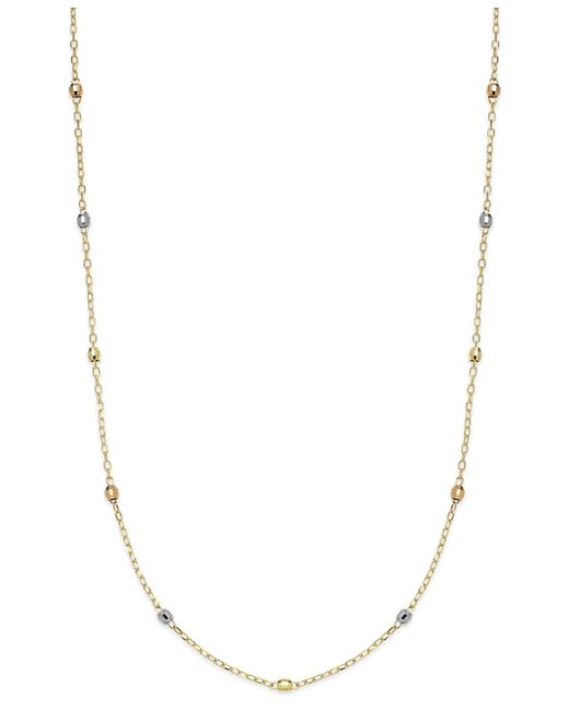 """Macy's 14k Tri-tone Beaded Station Chain 16"""" Necklace in ..."""