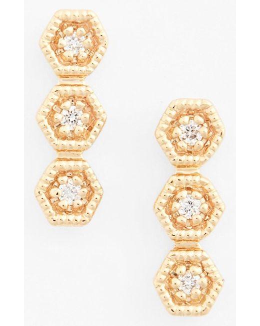 Dana Rebecca | Metallic 'kathryn Lynn' Diamond Drop Earrings | Lyst