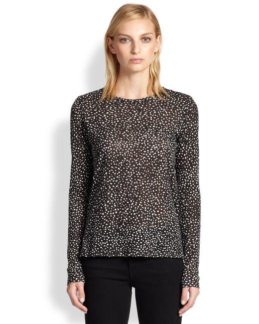 Proenza Schouler | Black Dotprint Cotton Jersey Tee | Lyst