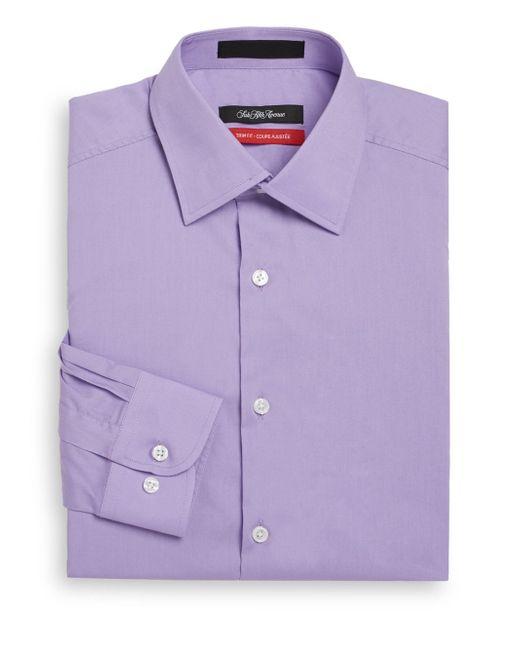 Saks Fifth Avenue | Purple Trim-fit Solid Dress Shirt for Men | Lyst