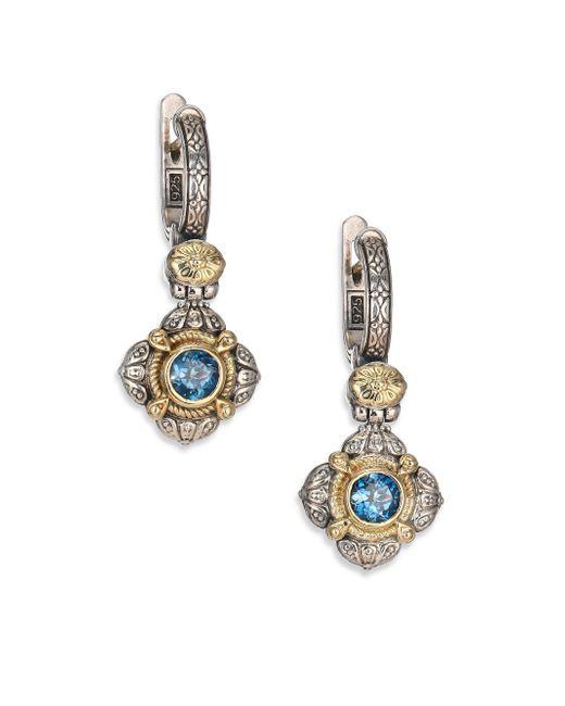 Konstantino | Metallic Hermione London Blue Topaz, 18k Yellow Gold & Sterling Silver Drop Earrings | Lyst