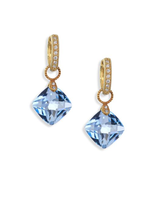 Jude Frances | Metallic Classic Sky Blue Topaz, Diamond & 18k Yellow Gold Cushion Earring Charms | Lyst
