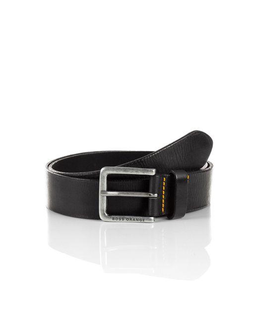 BOSS Orange | Black Leather Belt With Vintage Clasp: 'jeek' for Men | Lyst