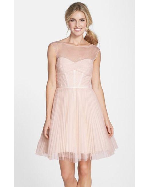 Monique Lhuillier Bridesmaids   Pink Illusion Yoke Tulle Fit & Flare Dress   Lyst