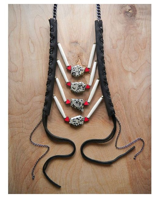 Love Leather   Multicolor Spot Rocked Necklace   Lyst