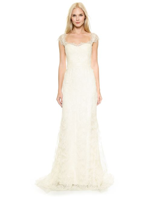 Marchesa | White Corded Lace A-line Gown | Lyst