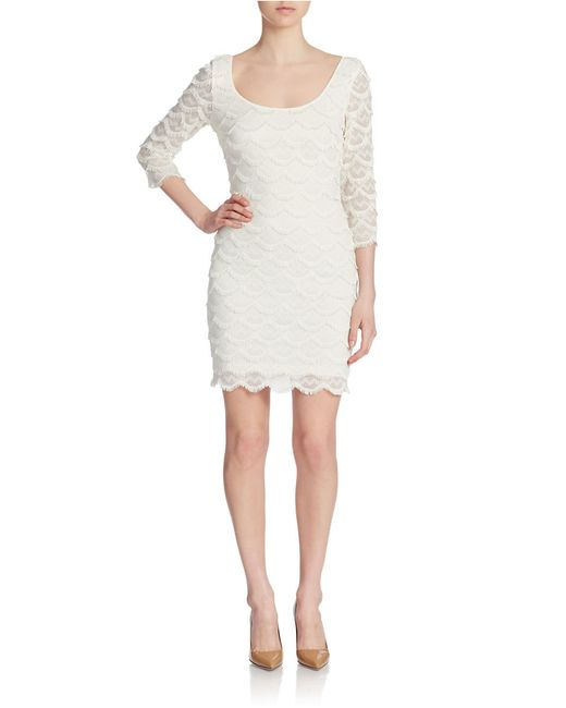 Guess | White Scalloped Fringe Bodycon Dress | Lyst