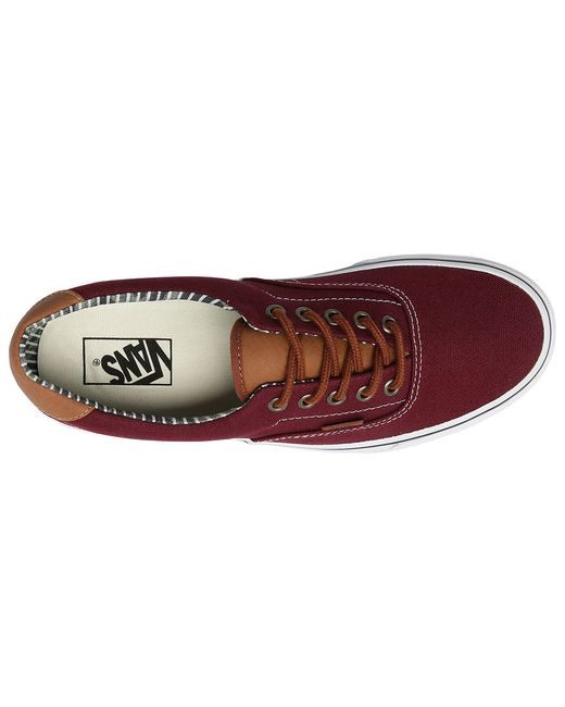Vans Burgundy Era Leather/canvas Sneakers In Red For Men