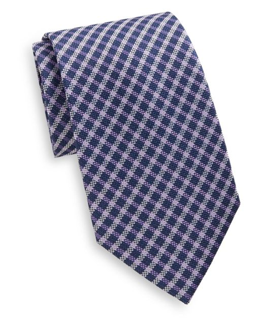 Saks Fifth Avenue | Blue Plaid Check Silk Tie for Men | Lyst