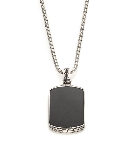 John Hardy | Metallic Classic Chain Batu Black Jade & Sterling Silver Pendant Necklace for Men | Lyst