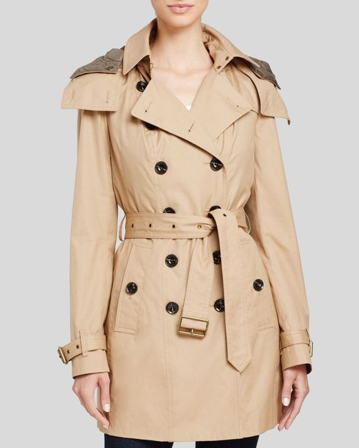 burberry reymoore hooded cotton trench coat in natural lyst. Black Bedroom Furniture Sets. Home Design Ideas