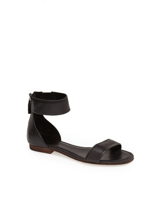 Frye Carson Leather Sandals In Black White Leather